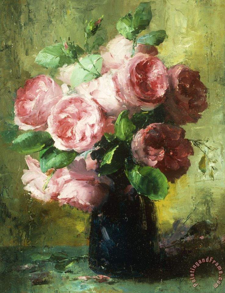 Frans Mortelmans Pink Roses In A Vase Painting Pink Roses In A
