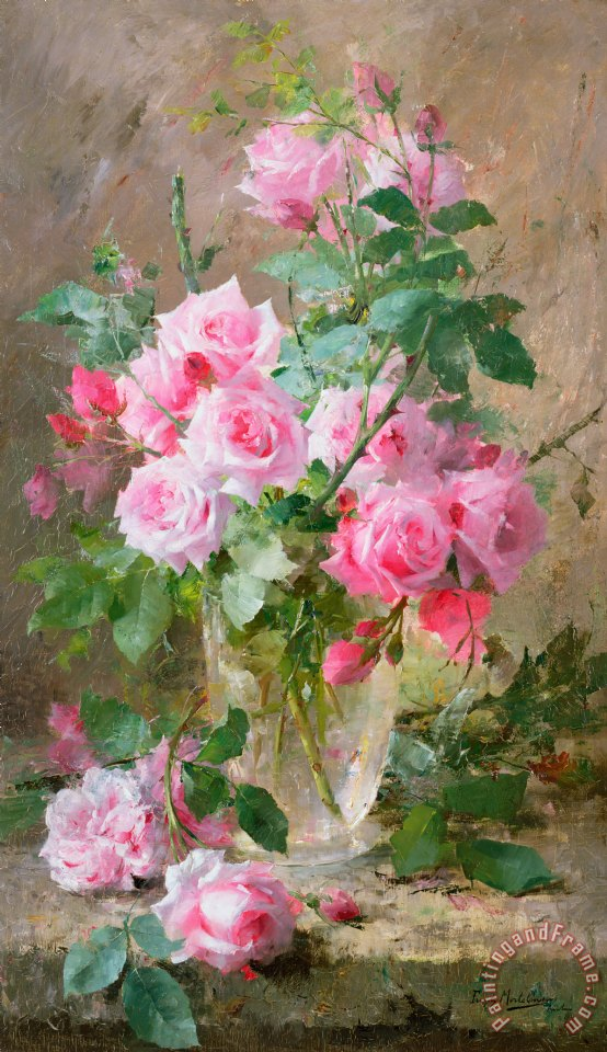 Still life of roses in a glass vase painting - Frans Mortelmans Still life of roses in a glass vase Art Print