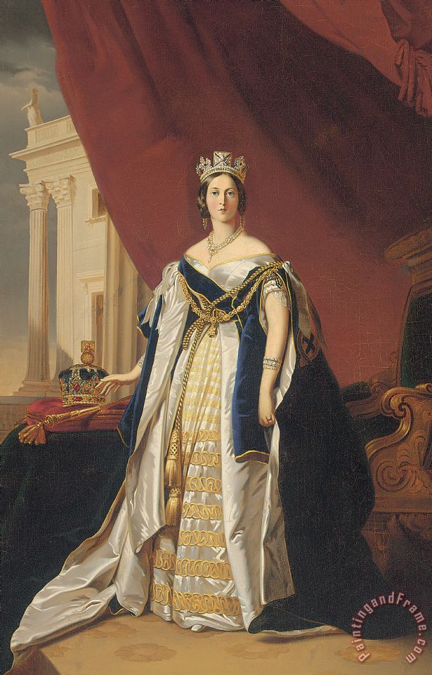Franz Xaver Winterhalter Portrait Of Queen Victoria In Coronation Robes Art Print