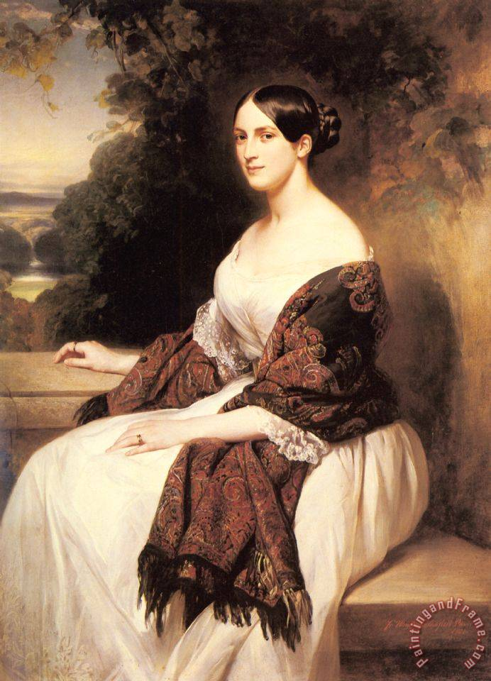 Portrait of Madame Ackerman, The Wife of The Chief Finance Minister of King Louis Philippe painting - Franz Xavier Winterhalter Portrait of Madame Ackerman, The Wife of The Chief Finance Minister of King Louis Philippe Art Print