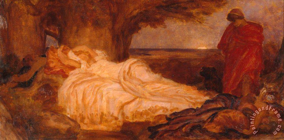 Colour Study for 'cymon And Iphigenia' painting - Frederic Leighton Colour Study for 'cymon And Iphigenia' Art Print