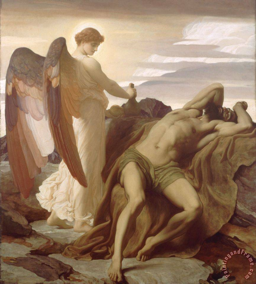 Elijah in The Wilderness painting - Frederic Leighton Elijah in The Wilderness Art Print