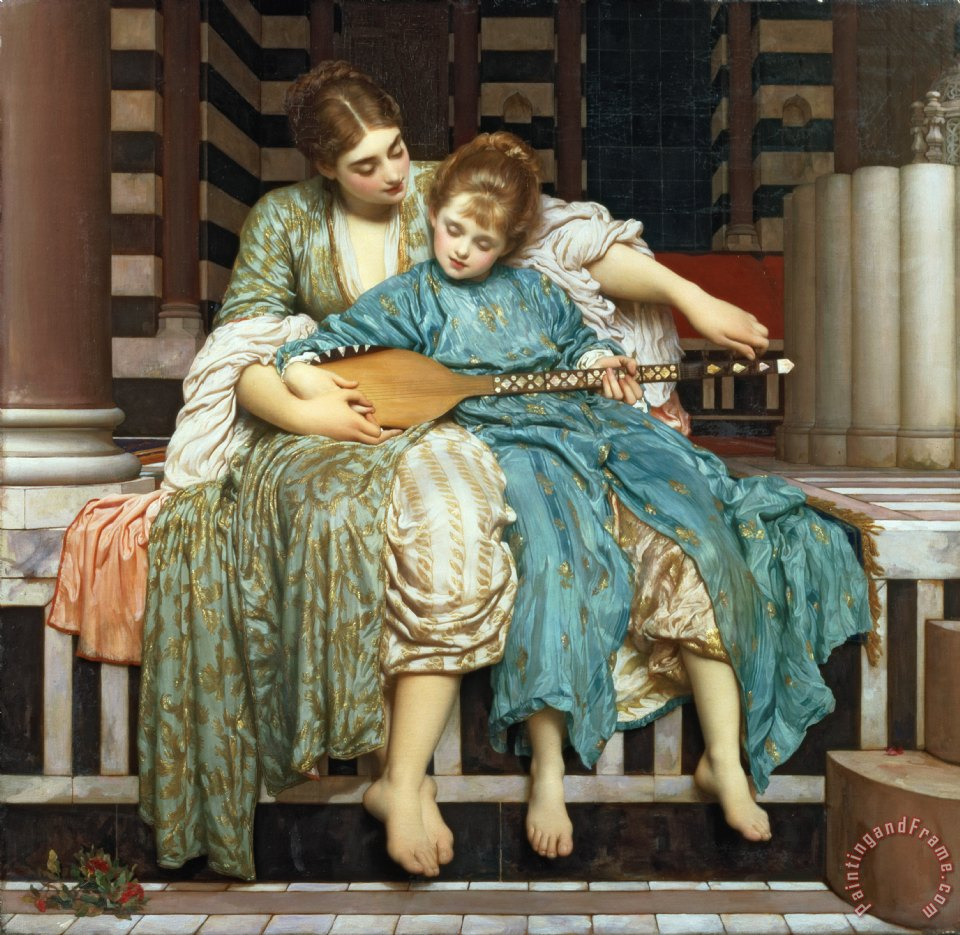 The Music Lesson painting - Frederic Leighton The Music Lesson Art Print