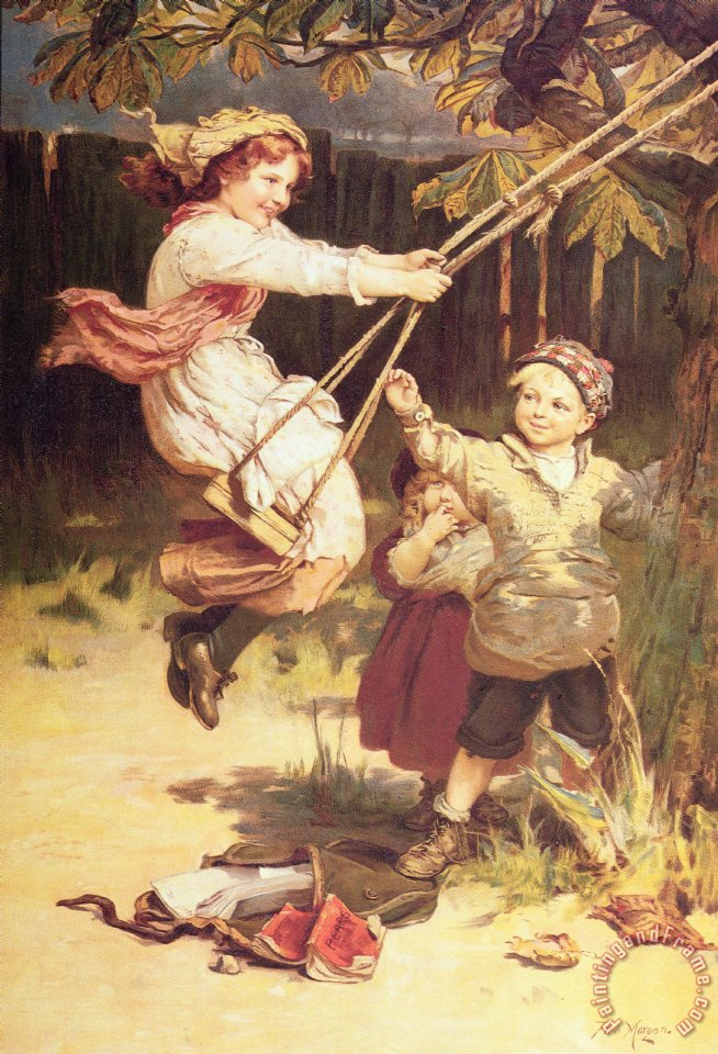 After School painting - Frederick Morgan After School Art Print