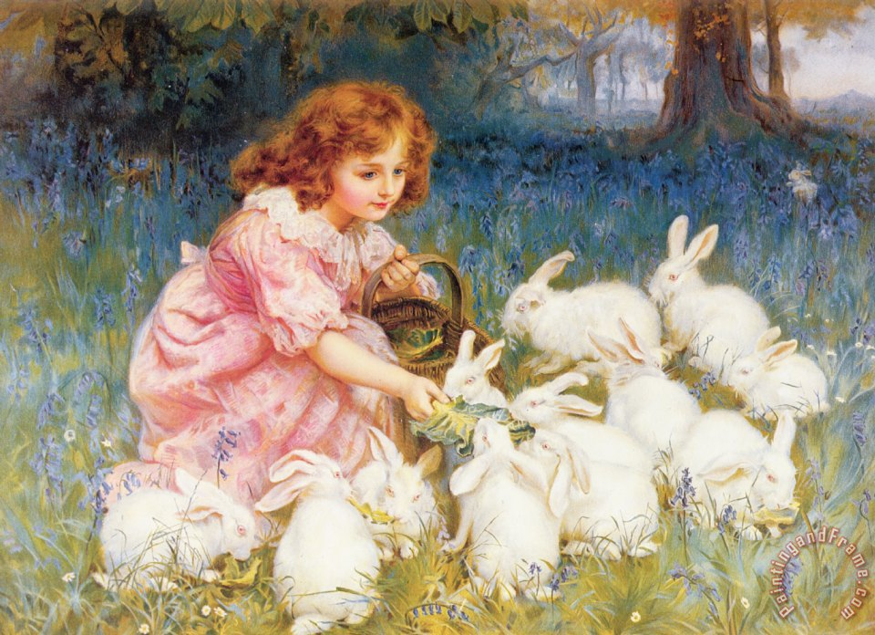 Feeding the Rabbits painting - Frederick Morgan Feeding the Rabbits Art Print
