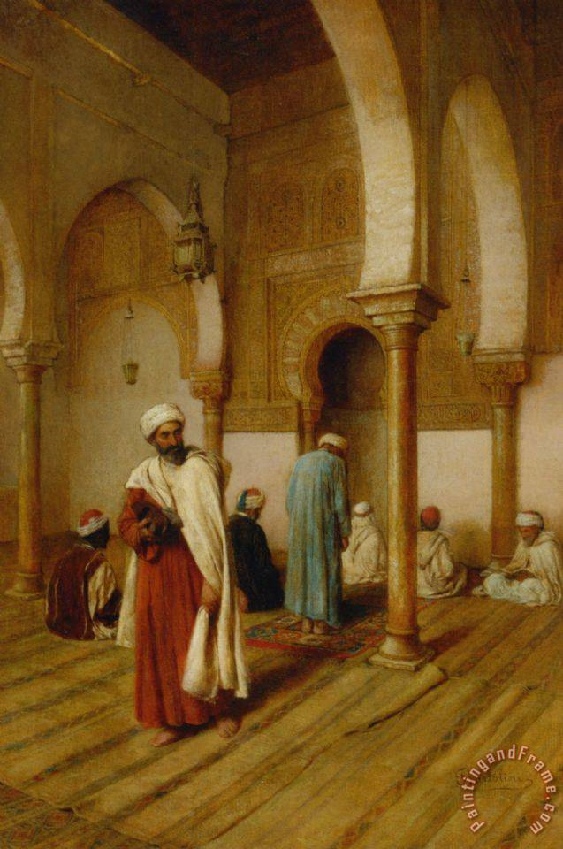 Frederico Bartolini A Prayer In The Mosque Tunisa Painting