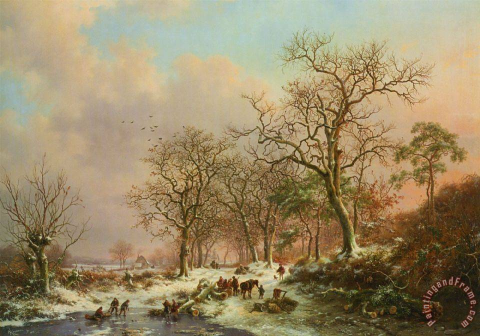 Wood Gatherers in a Winter Landscape with a Castle Beyond painting - Frederik Marianus Kruseman Wood Gatherers in a Winter Landscape with a Castle Beyond Art Print