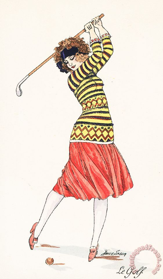 A Woman In Full Swing Playing Golf painting - French School A Woman In Full Swing Playing Golf Art Print