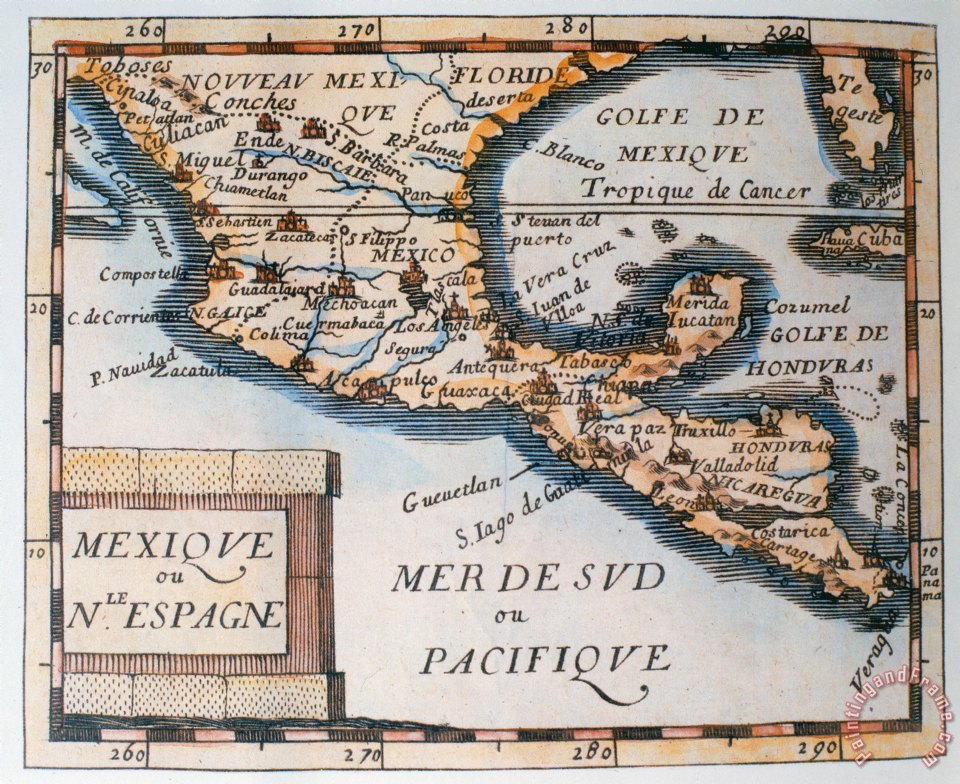 Map Of Spain To Print.French School Antique Map Of Mexico Or New Spain Painting Antique Map Of Mexico Or New Spain Print For Sale