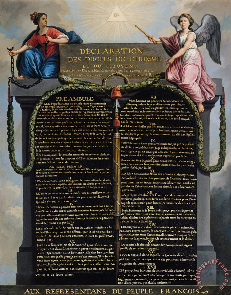 Declaration of the Rights of Man and Citizen painting - French School Declaration of the Rights of Man and Citizen Art Print