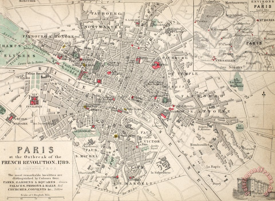 Map Of Paris At The Outbreak Of The French Revolution painting - French School Map Of Paris At The Outbreak Of The French Revolution Art Print