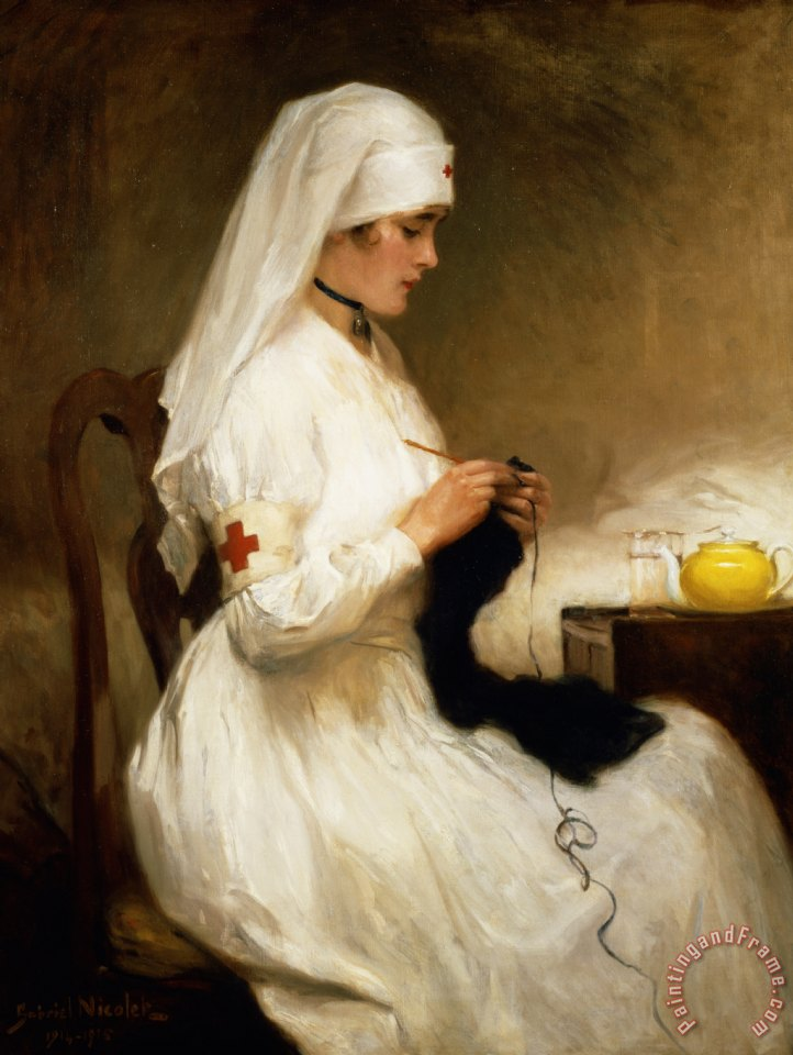 Portrait of a Nurse from the Red Cross painting - Gabriel Emile Niscolet Portrait of a Nurse from the Red Cross Art Print