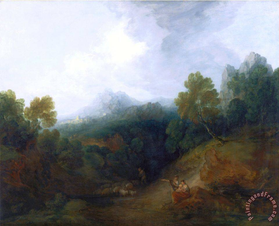 Landscape with a Flock of Sheep painting - Gainsborough, Thomas Landscape with a Flock of Sheep Art Print