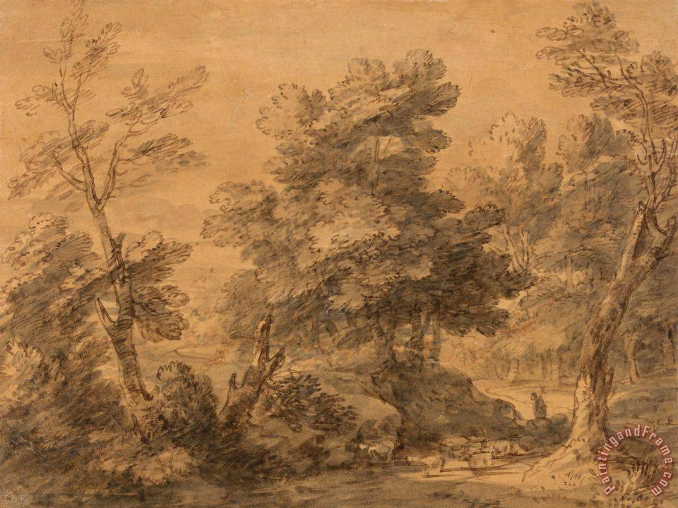 Gainsborough, Thomas Wooded Landscape with Shepherd And Sheep painting -  Wooded Landscape with Shepherd And Sheep print for sale