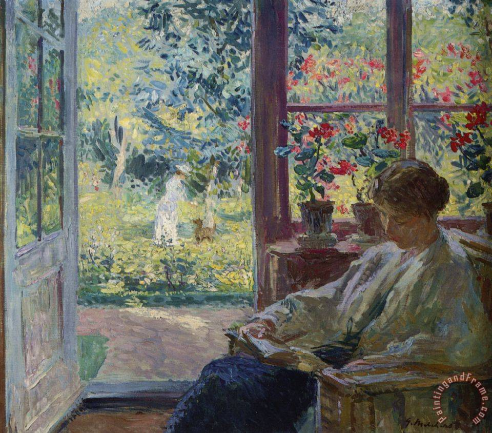 gari melchers woman reading by a window painting woman reading by