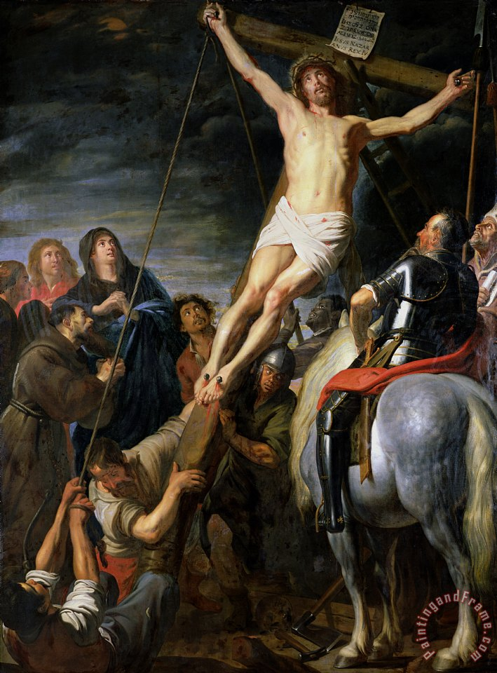the raising of the cross vs In the centre nine executioners strain with all their might to raise the cross from  which christ's pale body hangs the dramatic action is witnessed from the left by .