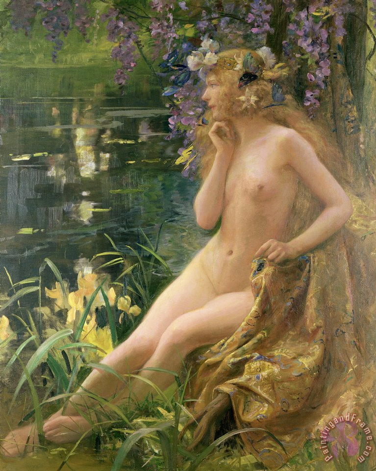 Water Nymph painting - Gaston Bussiere Water Nymph Art Print