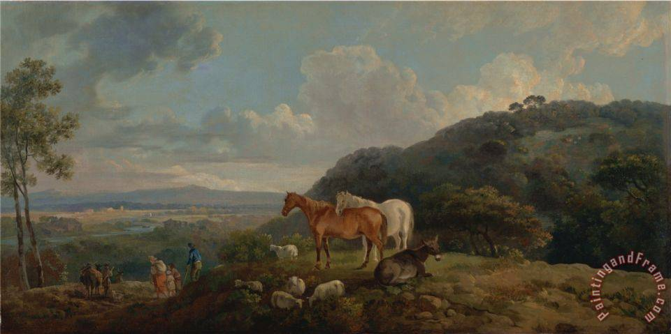 George Barret Morning Landscape with Mares And Sheep Art Print