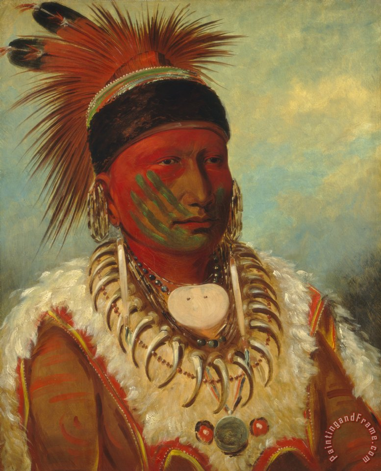 George Catlin The White Cloud Head Chief Of The Iowas Art Painting