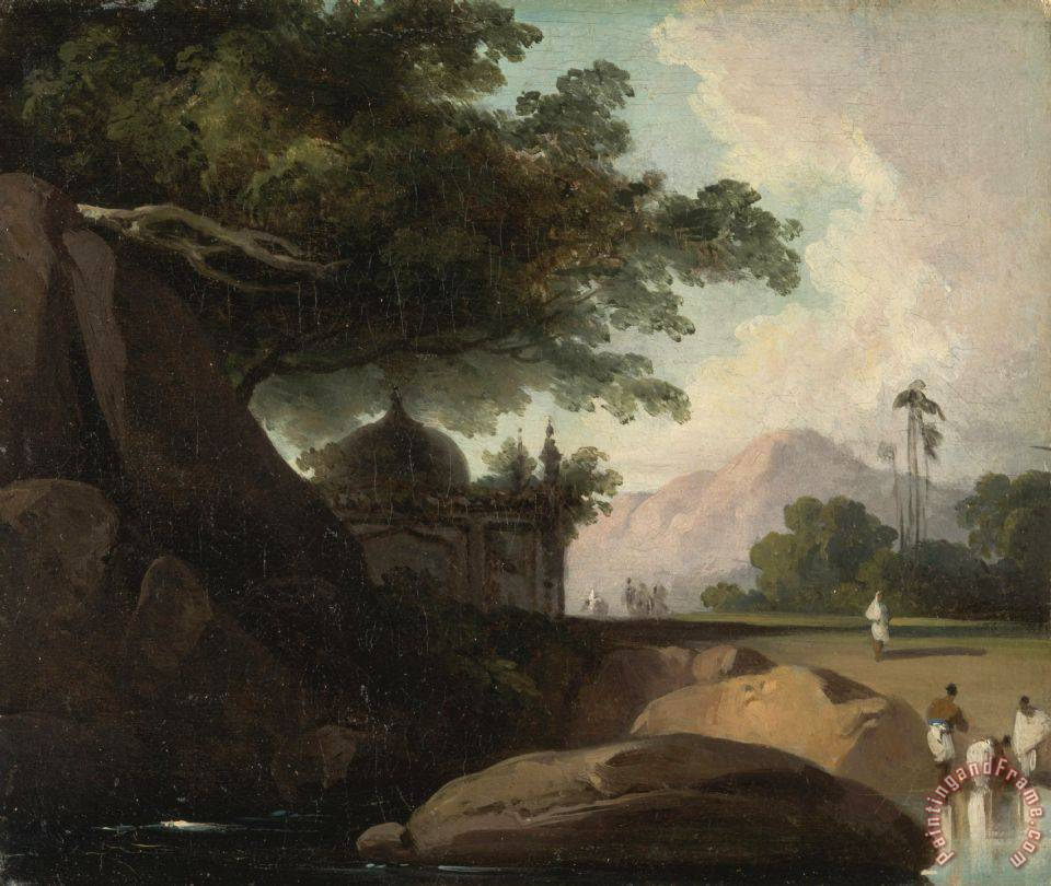 George Chinnery Indian Landscape with Temple Art Painting
