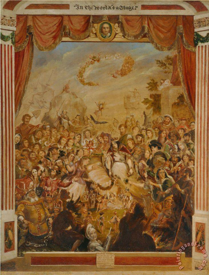 George Cruikshank The First Appearance Of William Shakespeare On The Stage Of The Globe Theatre Art Painting By George Cruikshank