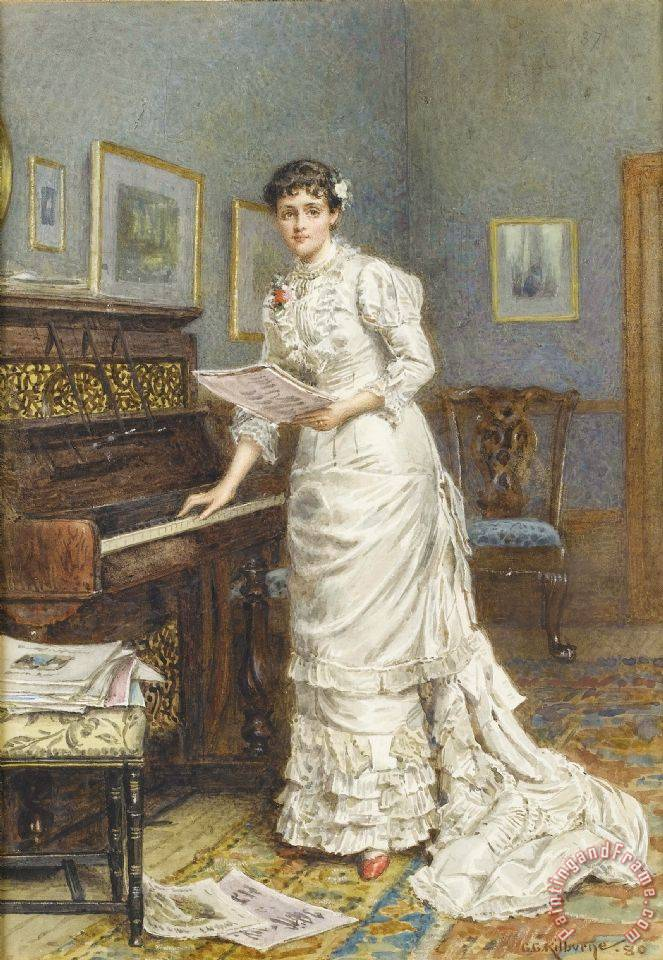 A Young Woman at a Piano painting - George Goodwin Kilburne A Young Woman at a Piano Art Print