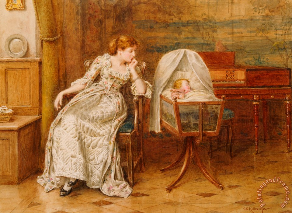 George Goodwin Kilburne An Interior With A Mother And Child Art Print