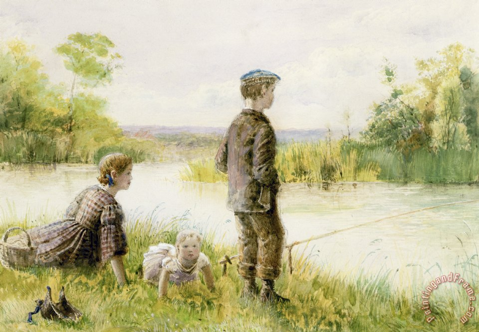 Children Fishing By A Stream painting - George Goodwin Kilburne Children Fishing By A Stream Art Print
