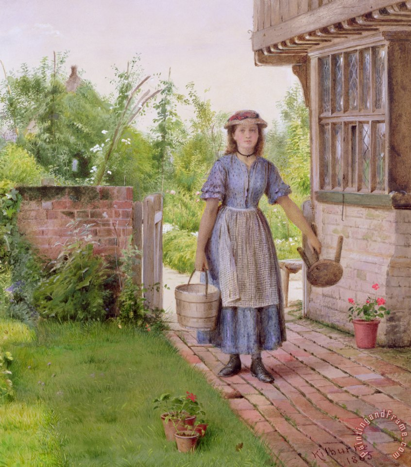 The Young Milkmaid painting - George Goodwin Kilburne The Young Milkmaid Art Print