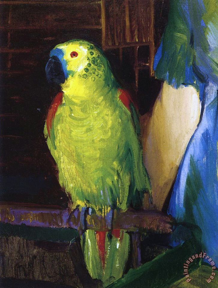 Green parrot painting - photo#3