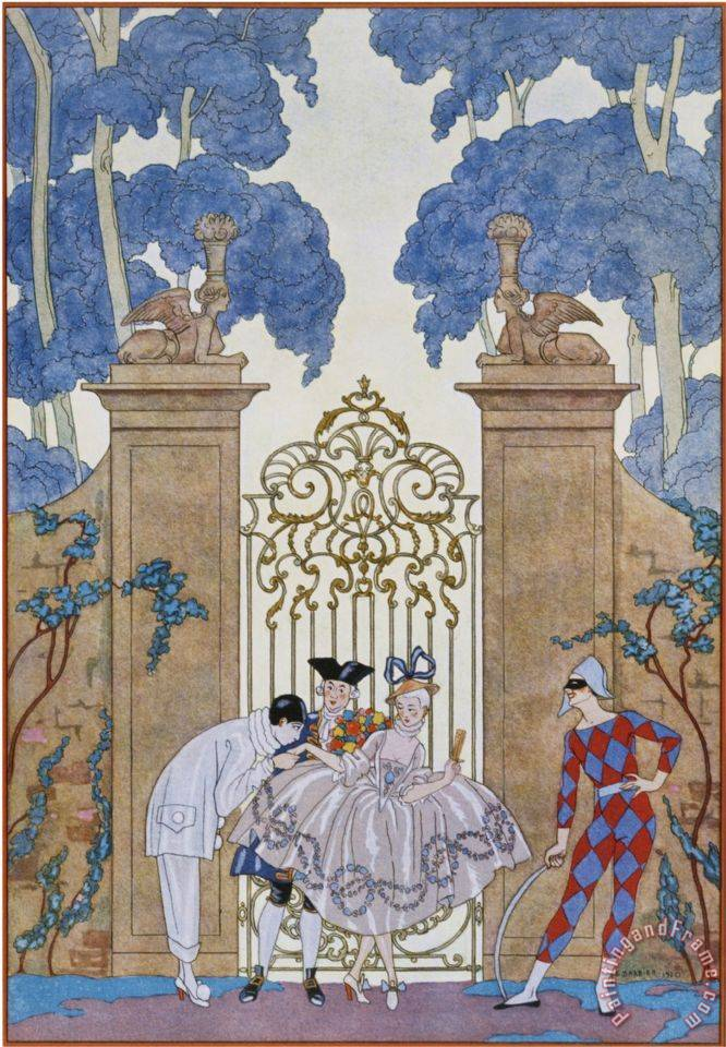 Columbine painting - Georges Barbier Columbine Art Print