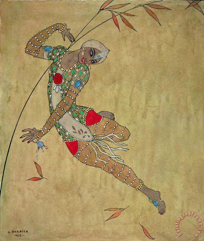 Nijinsky In Le Festin L'oiseau D'or painting - Georges Barbier Nijinsky In Le Festin L'oiseau D'or Art Print
