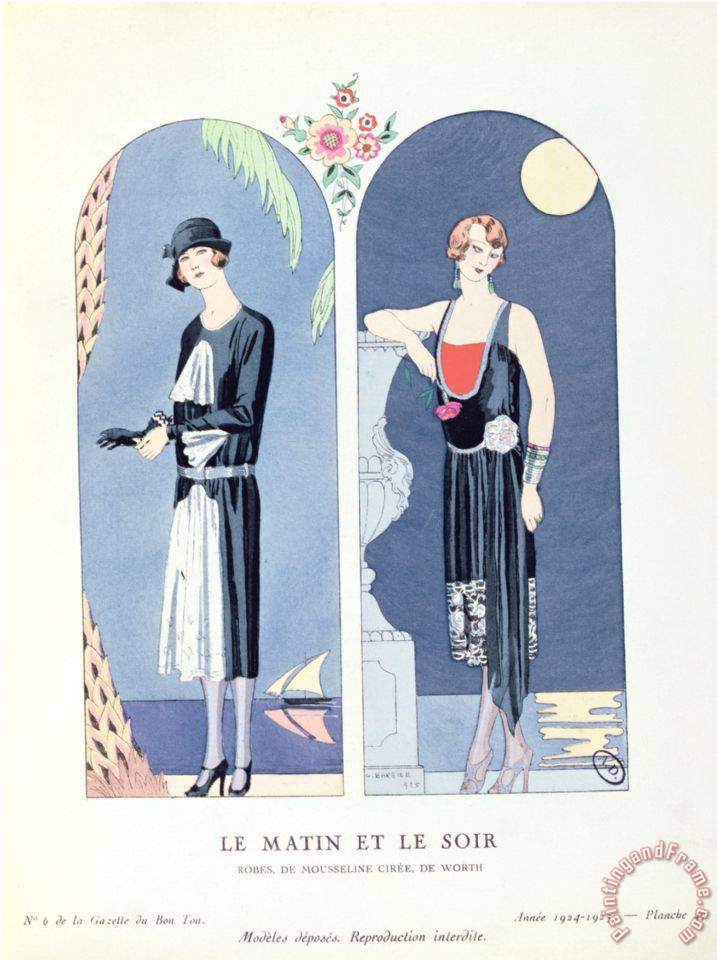 Day And Night Plate 47 From La Gazette Du Bon Ton Depicting Day And Evening Dresses 1924 25 painting - Georges Barbier Day And Night Plate 47 From La Gazette Du Bon Ton Depicting Day And Evening Dresses 1924 25 Art Print