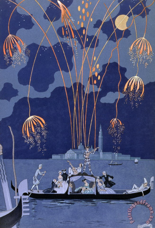 Fireworks in Venice painting - Georges Barbier Fireworks in Venice Art Print