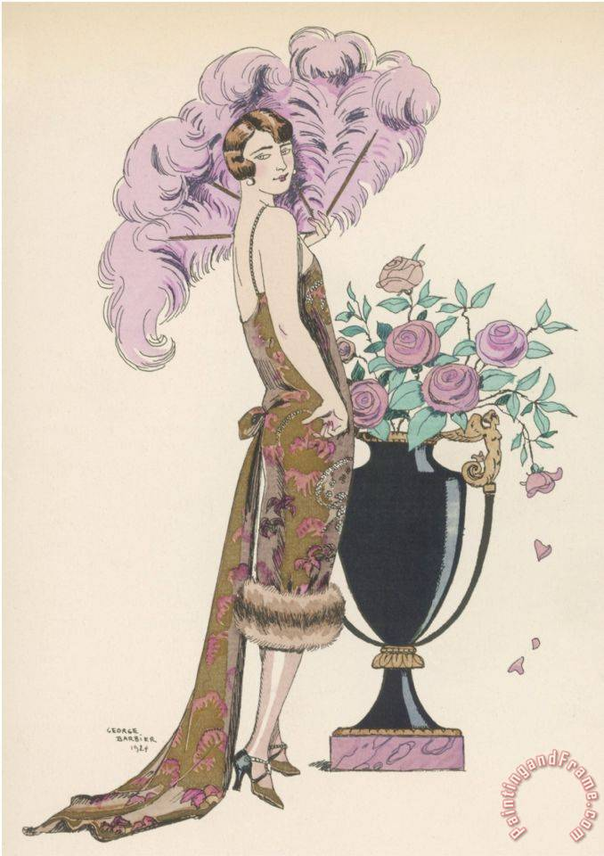 Frock Fur And Feather Fan painting - Georges Barbier Frock Fur And Feather Fan Art Print