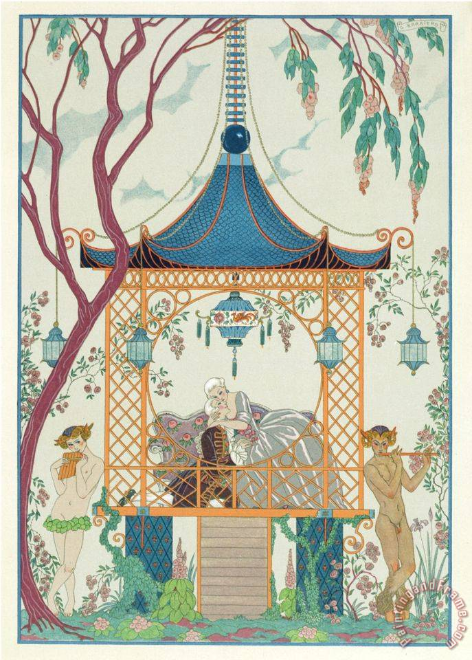 Illustration for Fetes Galantes by Paul Verlaine 1844 96 Published 1928 Pochoir Print painting - Georges Barbier Illustration for Fetes Galantes by Paul Verlaine 1844 96 Published 1928 Pochoir Print Art Print
