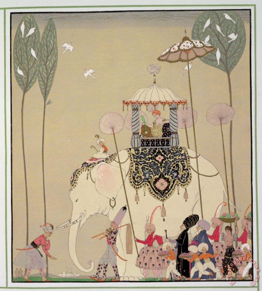 Imperial Procession painting - Georges Barbier Imperial Procession Art Print