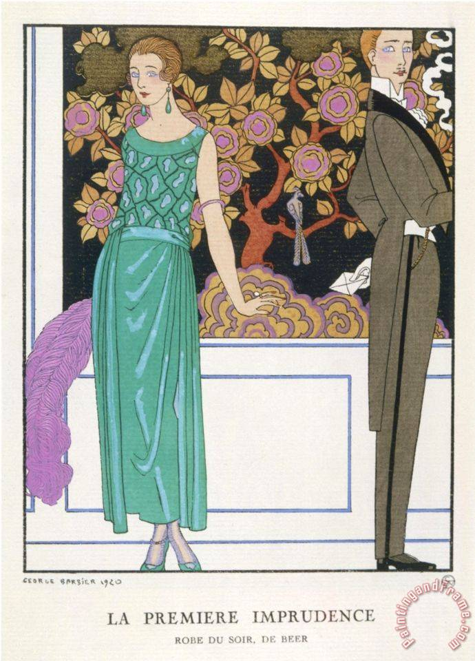 Jade Green Dress by Beer painting - Georges Barbier Jade Green Dress by Beer Art Print