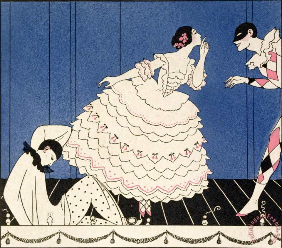 Georges barbier karsavina painting karsavina print for sale for Pochoir prints for sale