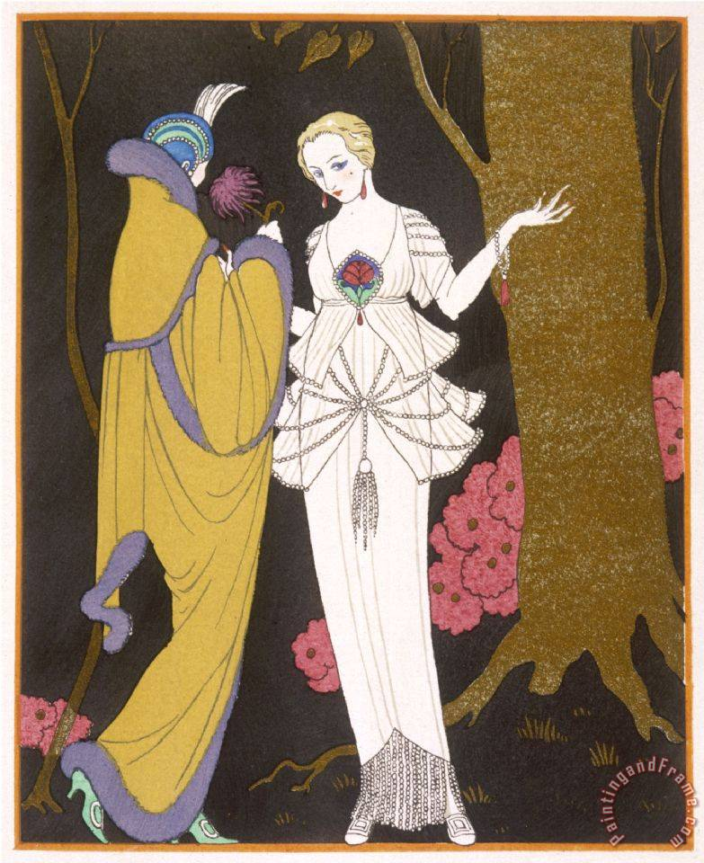 Mantle with a Yoke Voluminous Sleeves And Fur Trim And Close Fitting Hat with Aigrette painting - Georges Barbier Mantle with a Yoke Voluminous Sleeves And Fur Trim And Close Fitting Hat with Aigrette Art Print