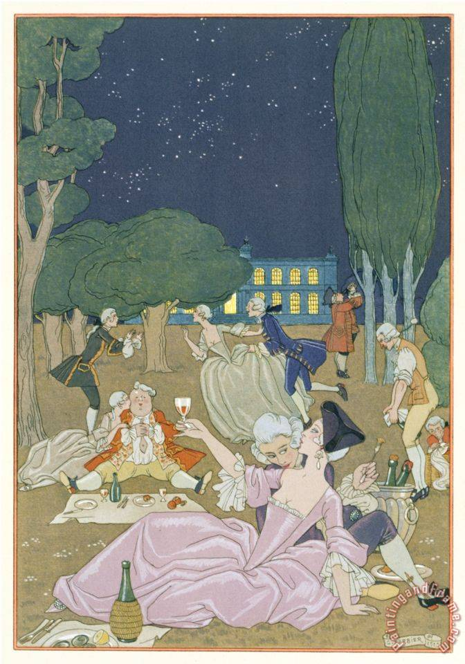 On The Lawn Illustration for Fetes Galantes by Paul Verlaine 1844 96 1923 Pochoir Print painting - Georges Barbier On The Lawn Illustration for Fetes Galantes by Paul Verlaine 1844 96 1923 Pochoir Print Art Print