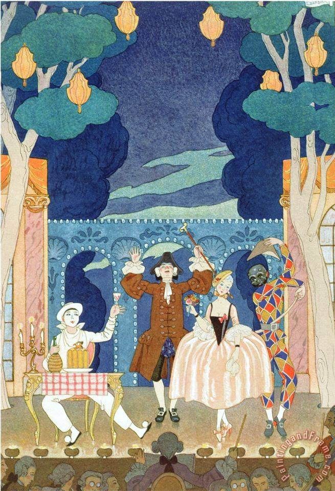 Pantomime Stage Illustration for Fetes Galantes by Paul Verlaine 1924 painting - Georges Barbier Pantomime Stage Illustration for Fetes Galantes by Paul Verlaine 1924 Art Print