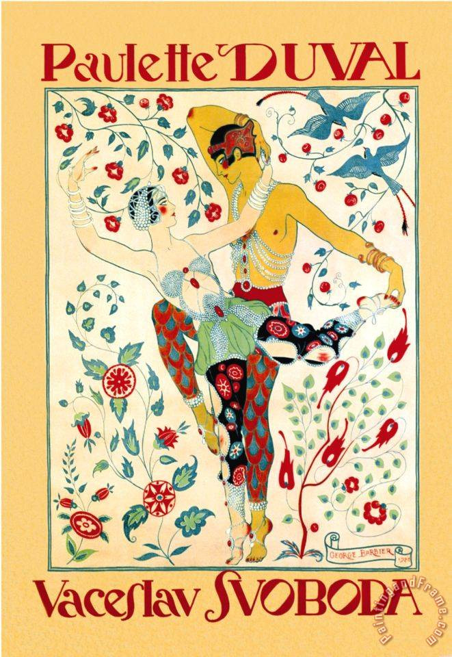 Paulette Duval And Vaceslv Svoboda Dance painting - Georges Barbier Paulette Duval And Vaceslv Svoboda Dance Art Print