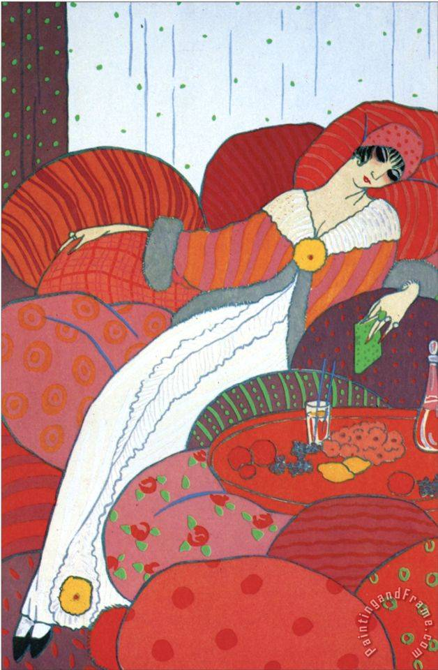 Seated Woman painting - Georges Barbier Seated Woman Art Print