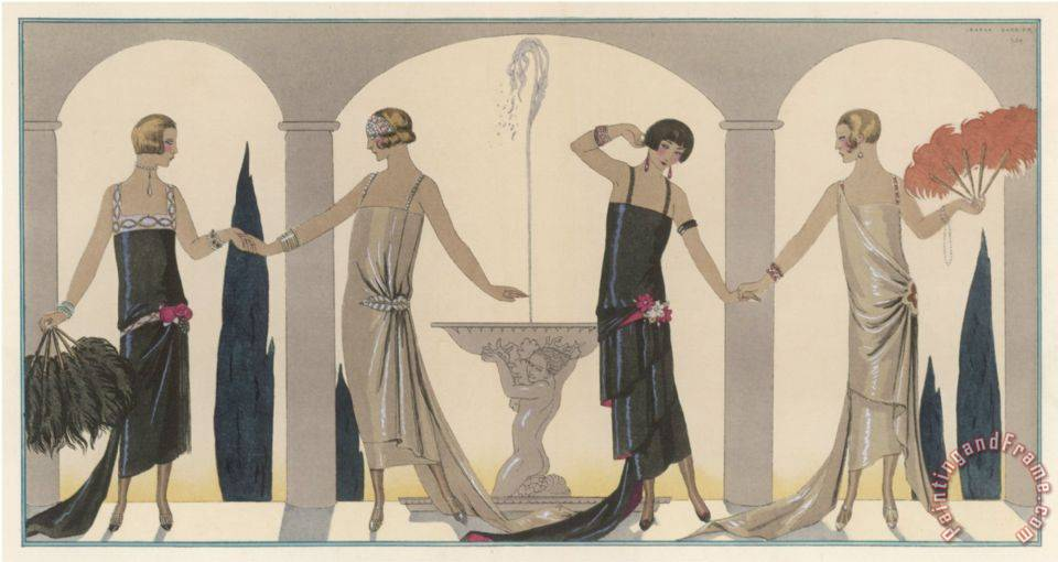 Sensually Draped Dresses with Narrow Beaded Straps Square Necklines And Detailing Over One Hip painting - Georges Barbier Sensually Draped Dresses with Narrow Beaded Straps Square Necklines And Detailing Over One Hip Art Print