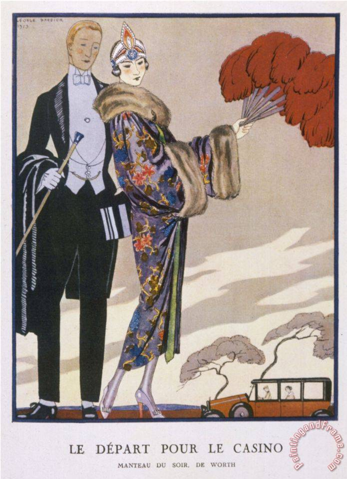 She Wears an Evening Coat by Worth Oriental Cherry Blossom with Wide Full Sleeves painting - Georges Barbier She Wears an Evening Coat by Worth Oriental Cherry Blossom with Wide Full Sleeves Art Print