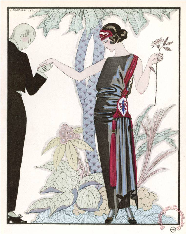 Sleeveless Slash Neck Chinese Or Orientally Inspired Black Dress by Worth with Red Tassel Detail painting - Georges Barbier Sleeveless Slash Neck Chinese Or Orientally Inspired Black Dress by Worth with Red Tassel Detail Art Print