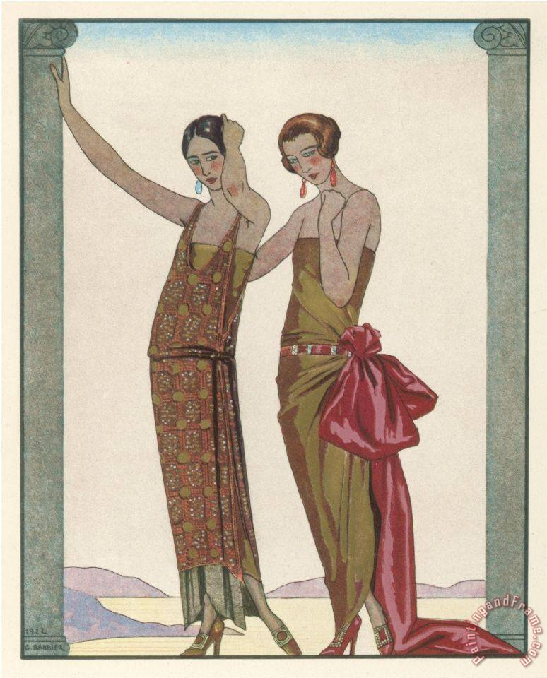 Georges Barbier Strapless Gold Dress Draped Up Over One Hip And Tied with a Large Sash Bow Which Creates a Train Art Print