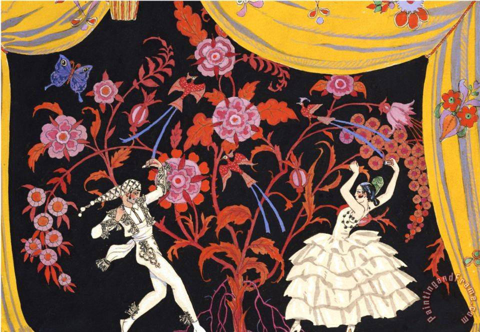 The Flamenco painting - Georges Barbier The Flamenco Art Print