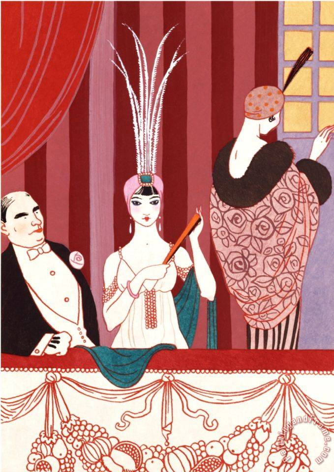 The Loge France Early 20th Century painting - Georges Barbier The Loge France Early 20th Century Art Print